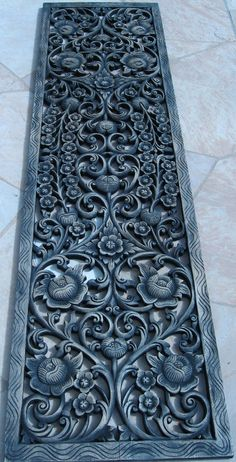 Hand Carved Wood Panels | Life Size Floral Teak Panel