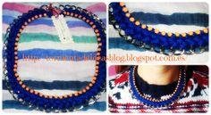 Colgante de cadena, trenzado en color azulón y decorado con 'strass' naranja pálido Precio: 6,50 €/unidad