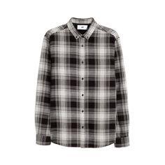 H&M Plaid Cotton Shirt $14.99 ($15) ❤ liked on Polyvore featuring tops, long sleeve cotton tops, long sleeve tops, cotton shirts, tartan plaid shirt and long-sleeve shirt