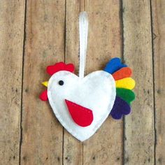 DIY Felt Rooster Ornament Kit by PaisleyMoose on Etsy Felt Diy, Felt Crafts, Diy And Crafts, Felt Christmas Ornaments, Christmas Crafts, Easter Tree, Coq, Easter Crafts, Rooster