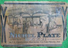 Centlivre Brewing Co. Nickel plate beer bottle label Fort Wayne Indiana