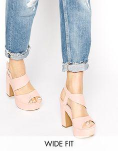 Pink | New Look Wide Fit Tipsy Pink Platform Heeled Sandals at ASOS