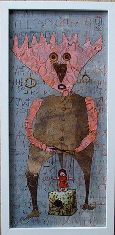 Elke Trittel acrylic,collage on board 20x50cm