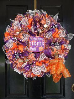 Large Mesh Ribbon Collegiate Wreath Clemson University Tigers College Football Basketball Baseball Orange Purple Stripe Ribbon on Etsy, $79.50
