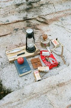 Vintage Camping Lantern And Essentials