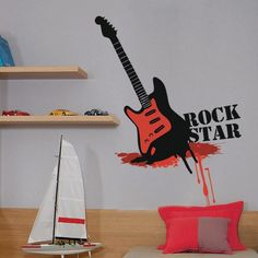 Rockstar wall decal by Studio Luka, model no. Music Wall Decor, Music Wall Art, Cool Wall Art, Kids Wall Decals, Vinyl Wall Stickers, Guitar Wall, Our Kids, Rock, Studio