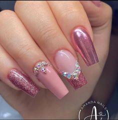 Classy Acrylic Nails, Cute Acrylic Nail Designs, Best Acrylic Nails, Nail Art Designs, Fabulous Nails, Perfect Nails, Gorgeous Nails, Aycrlic Nails, Pink Nails