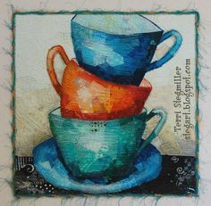 Stacked Cups art quilt by Terri Stegmiller