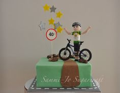 This cake was a Birthday surprise for a Birthday. There was a bit of pressure, as just a weekend before it was due, i got sick, which left me with 4 days to bake, make figurines and decorate t. 41st Birthday, Birthday Cakes For Men, 40th Birthday Parties, Cakes For Boys, Birthday Party Favors, Birthday Ideas, Bicycle Cake, Bike Cakes, Mountain Bike Cake