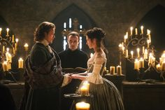 Though it wouldn't have been historically accurate for anyone less than near royalty, the silver threads in the dress were meant to give a soft sparkling glow in the candlelit chapel scene -- Outlander 2014