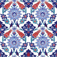 Continuous Pattern Floral Wall Tiles for kitchen or bathroom Kitchen Wall Tiles, Ceramic Wall Tiles, Tile Art, Turkish Art, Turkish Tiles, Turkish Design, Islamic Tiles, Islamic Art, Border Tiles