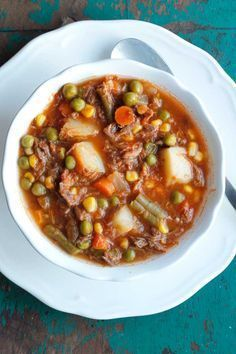 My Mom's Old-Fashioned Vegetable Beef Soup -  an easy soup recipe that can be made in a slow cooker or stock pot! #beeffoodrecipes