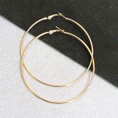 Bovvsky simple Big Hoop Earrings Gold Plated Environmental alloy big round Earring Smooth Big Single Round Bijoux 8cm