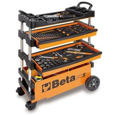 Beta 15 in. Folding Tool Utility Cart for Portable Use, Orange (Tools Not - The Home Depot Garage Tool Storage, Garage Shelving, Garage Tools, Garage Shelf, Garage Workshop, Wire Shelves, Storage Sheds, Tool Cart, Tool Bench
