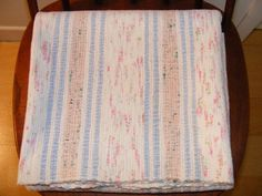 1940s antique hand woven stripes cotton rag rug. Beautiful soft colors. White with pale blue , pink and ash pink stripes. Light touches of