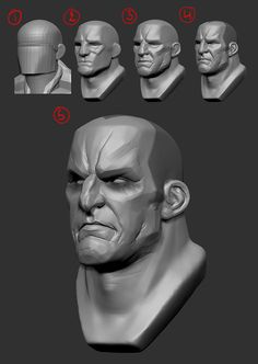This is a fan art of Sarevok I started for the Retrogasm competition. I wanted to get back on it today but it turns out I saved another project on the almost finished sculpt and I don't have any traces of it anywhere else soooo. Zbrush Character, 3d Model Character, Character Modeling, Character Art, Drawing Poses Male, Drawing Faces, Drawing Tips, Drawing Hair, Gesture Drawing