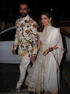 Kunal Kapoor and wife Naina at Amitabh Bachchan's #Diwali bash. #Bollywood #Fashion #Style #Beauty #Handsome #Desi