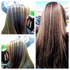 highlights on previously black hair, Dimensional Color, Highlights, Lowlights, Brown, Caramel, Blonde, Corrective Color, Long Hair. Hair by Carrie Gouvion. @hairbycarriegouvion