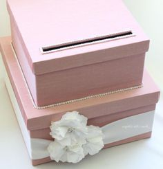 I Like This One Better We Can Make It Ourselves And Wrap W Coral Fabric A Bow Bling Pretty Wedding Card Box You Customize Colo