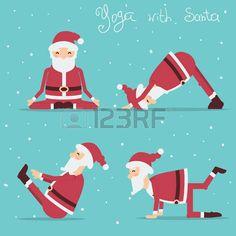Santa Claus doing yoga. Christmas Post, Christmas Humor, Christmas Tress, Xmas, Ayurveda, Yoga Cartoon, Studio Pilates, Yoga Humor, Yoga For Kids