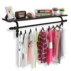 Decorative Wall Mounted Black Metal Storage Display Shelf / Coat U0026 Garment  Hanging Storage Rod Rack