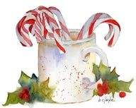 watercolor painting of candy canes by Barb Clarke – Candy Cane Noel Christmas, Christmas Candy, Winter Christmas, Christmas Crafts, Watercolor Christmas Cards, Watercolor Cards, Watercolor Paintings, Watercolours, Watercolor Background