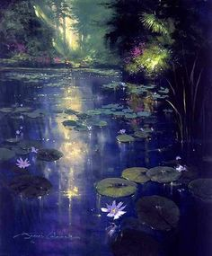 Soft Light and Lily Pads ~ James Coleman Fantasy Art Landscapes, Fantasy Landscape, Abstract Landscape, Landscape Paintings, Watercolor Landscape, Painting Inspiration, Art Inspo, Lotus Flower Wallpaper, Fantasy Setting