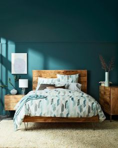 recommended small bedroom ideas to get a spacious look 19 - All About Decoration Blue Master Bedroom, Bedroom Green, Small Room Bedroom, Home Decor Bedroom, Bedroom Ideas, Design Bedroom, Small Rooms, Teal Bedroom Walls, Master Bedroom Color Ideas