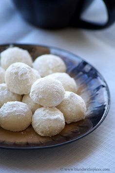 Snowball Cookies Recipe - Melting Moments - Easy Christmas Cookies Recipes | Indian Cuisine