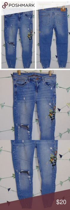 45f8cdd6 Zara Distressed Denim Floral Embroidered Jeans Raw Frayed Hem Stain next to  the flowers as in