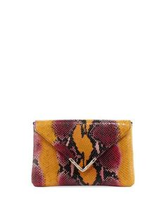 Bella Python-Embossed Envelope Clutch Bag, Yellow/Multi