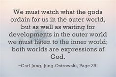 We must watch what the gods ordain for us in the outer world, but as well as waiting for developments in the outer world we must listen to the inner world; both worlds are expressions of God. ~Carl Jung, Jung-Ostrowski, Page 39.