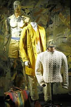 i am not very good with a paint brush, pinned by Ton van der Veer Love the use of a painting to inspire colors and the top mannequin being painted the same as the painting all in white, yellow and tan
