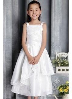 Adorable A-line Square Tea-length Taffeta Appliques Flower Girl Dress