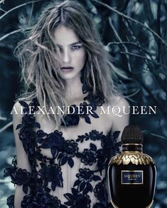 Alexander McQueen Parfum advertising campaign. Love the bottle design. These golden feathers are amazing.