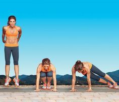JILLIAN MICHAELS'S 16-MINUTE SLIM-DOWN   Perform as many reps of each move as possible for 1 minute, then go to the next without resting. Repeat the sequence once, for a total of 16 minutes. Do the workout three or four times weekly, and record your reps to chart success