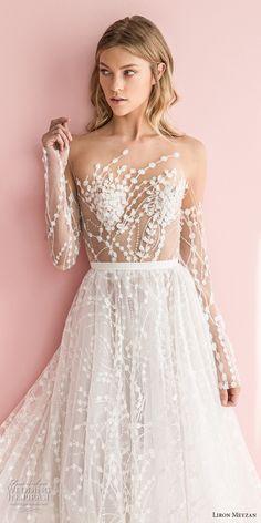 liron meyzan 2018 bridal long sleeves sweetheart heart neckline full embellishment romantic modern a line wedding dress open v back chapel train (1) zv mv -- Liron Meyzan 2018 Wedding Dresses #wedding #bridal #weddings