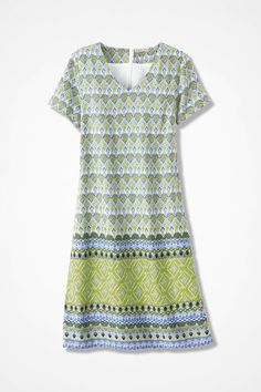 Simply a delightful dress, as diamond geometrics align in fresh colors easy to wear and elicits compliments effortlessly. A-Line silhouette, V-neck, hidden back zip. Body lined. #PrintDress #MaxiDress #PlusSIzeDress #PetiteDress #ComfortDress #CasualDress