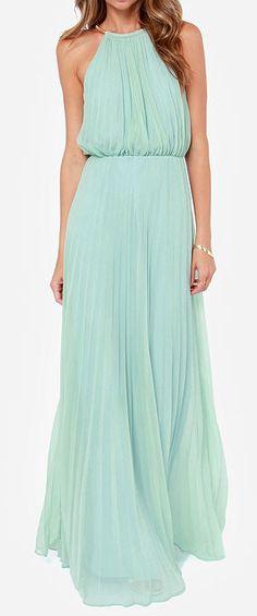 Mint pleated maxi dress