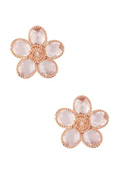 Diamond & Rose Quartz Flower Twist Earrings on HauteLook