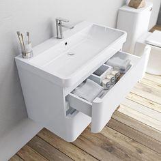 Mode Ellis white wall hung vanity drawer unit and basin Vanity Drawers, Bathroom Vanity Units, Wall Hung Vanity, Bathroom Sinks, Plum Bathroom, Bathroom Ideas, Family Bathroom, Contemporary Bathroom Furniture, Inset Basin
