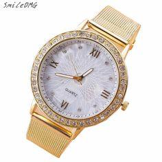 SmileOMG  Women Dress Quartz Watches Fashion Rhinestone Golden Mesh Band Bracelet Watch  Christmas Gift ,Sep 19