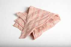 Pocket square plaid beige orange red linen 15 by ASDFstyle on Etsy