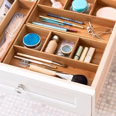 inspiration: a clean bathroom drawer.  get rid of all that scary stuff!
