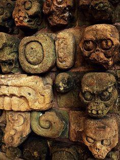 Ancient Mayan skull carvings from Copan. Courtesy the Museo Regional de Arqueología Maya, Honduras. Photo taken by Recovering Vagabond, Andrew Hall