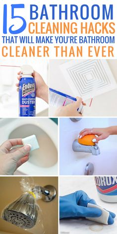 These 15 bathroom cleaning hacks are AMAZING! I am so glad I found these simple & easy cleaning ideas. Now I am motivated to make my bathroom the CLEANEST it's ever been. Save time & money, pin this! Car Cleaning Hacks, House Cleaning Tips, Diy Cleaning Products, Cleaning Solutions, Deep Cleaning, Cleaning Crew, Cleaning Services, Bathroom Cleaning Hacks, Laundry Hacks