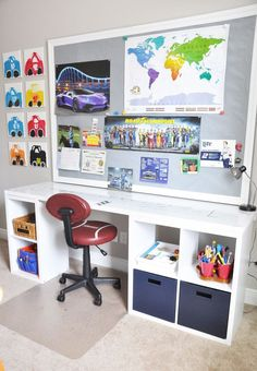 DIY Desk Using a Hollow Core Door and Some Cube Storage - Desks - Ideas of Desks Diy Storage Desk, Cube Storage Unit, Cube Shelves, Kids Desk With Storage, Cube Unit, Desk Organization, Storage Ideas, Lego Desk, Kid Desk