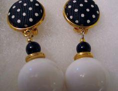 Mod Retro Black & White Polka Dot Dangle Drop Earrings w Beads Music City Estate #Unbranded #DropDangle