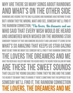 Song Lyric Poster - The Rainbow Connection - 11x14 - Gray, White, Teal, Orange. $30.00, via Etsy.