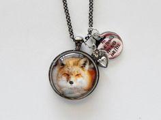 Hunting Jewelry FOX Pendant Fox Art Fox by HoovesHornsWingsPaws